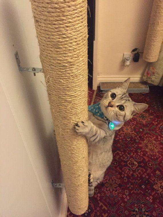Handmade sisal wall mounted cat scratching por KirstysKittyKats