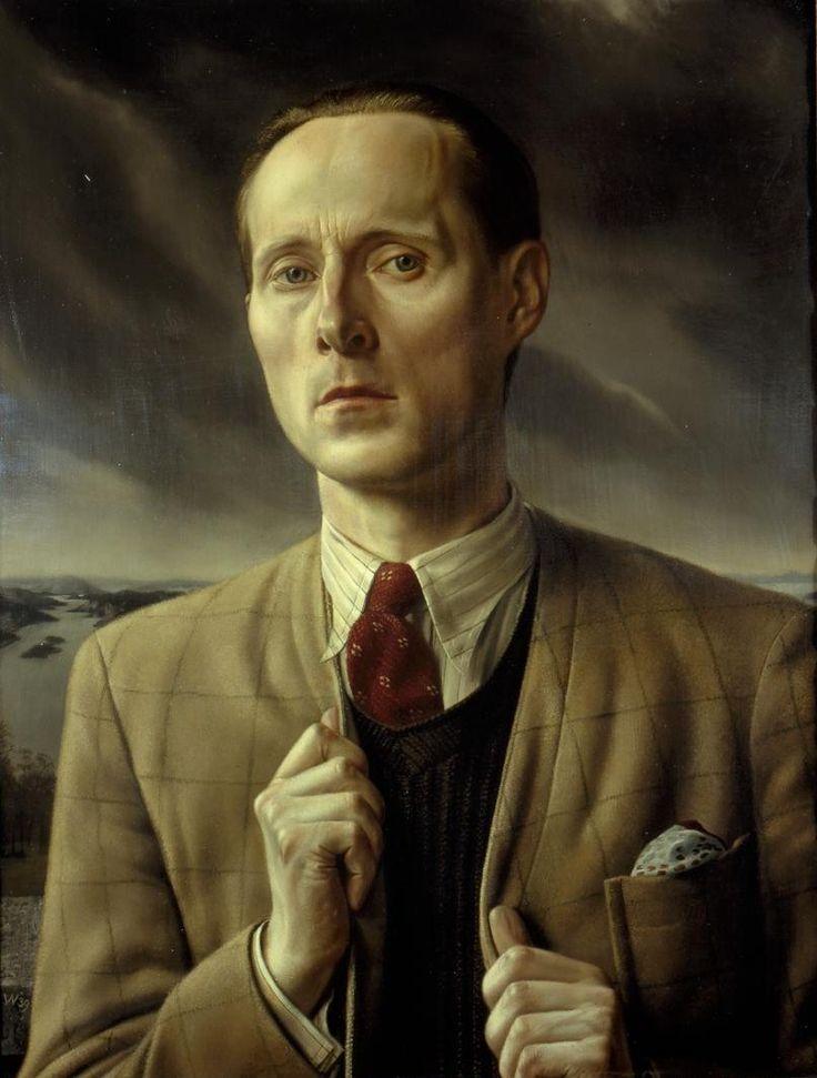 Zelfportret in weids landschap - Carel Willink
