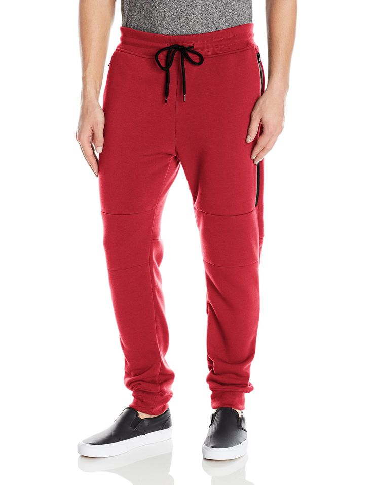 Southpole Men's Basic Fleece Jogger Sweat Pants with Waterproof Long Zippered Pocket, Red, LARGE