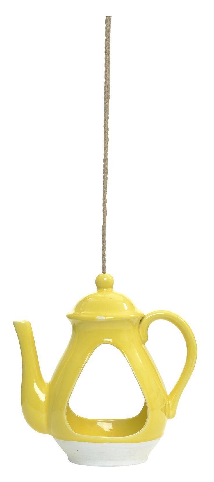 Hanging bird feeder in yellow