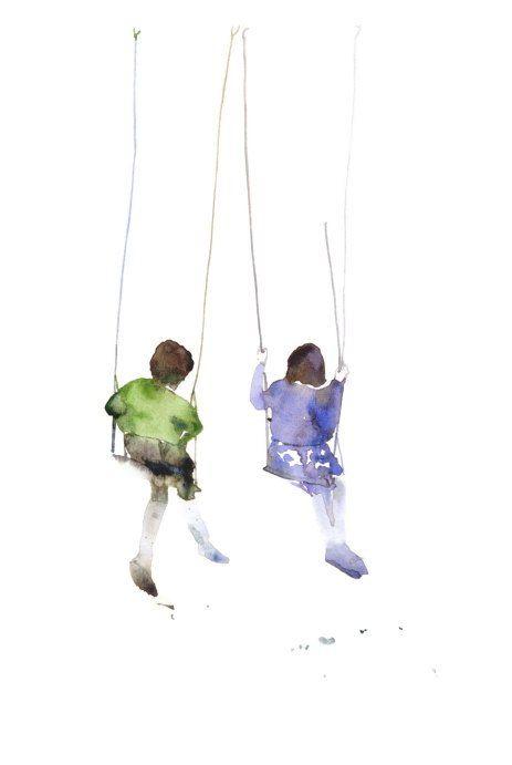 friends on the swings, little girls, large postcard or poster, watercolor op Etsy, 2,25€