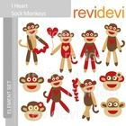 Clipart I Heart Sock Monkey - Red, Brown - Valentine clip art.  Cute clip art set for teachers and educators. Great resource for any school and cla...