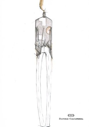 Fashion Sketch - fashion design illustration for the Daniele Calcaterra SS12 collection