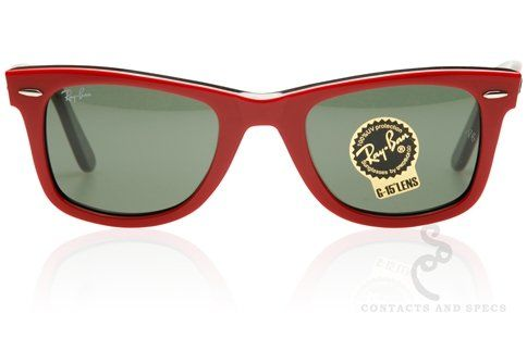 The Original Ray-Ban Wayfarer in red with black interior and G-15 lenses