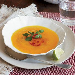 Sweet potatoes are a great source of beta-carotene, essential for vision. The soup uses only one cup of the ginger broth; the rest makes a terrific cooking liquid for grains like quinoa.