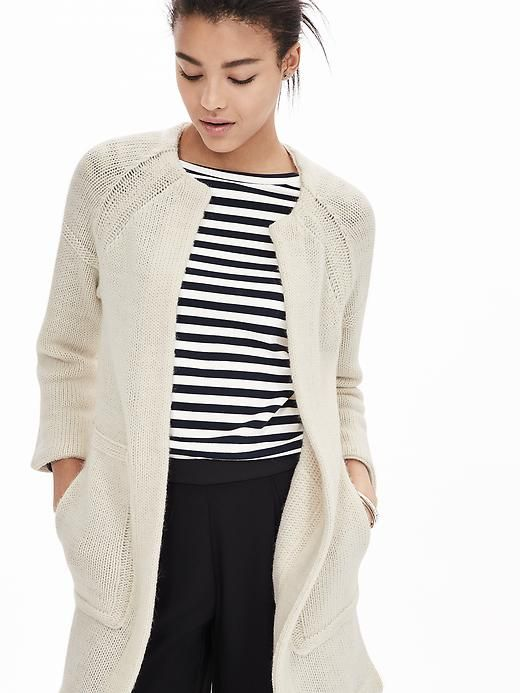 jackets online shop Just the thing to wear when the weather turns crisp: our cozy cream wool blend sweater coat, in a chic extra long length | Banana Republic