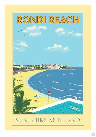 Vintage bondi beach print