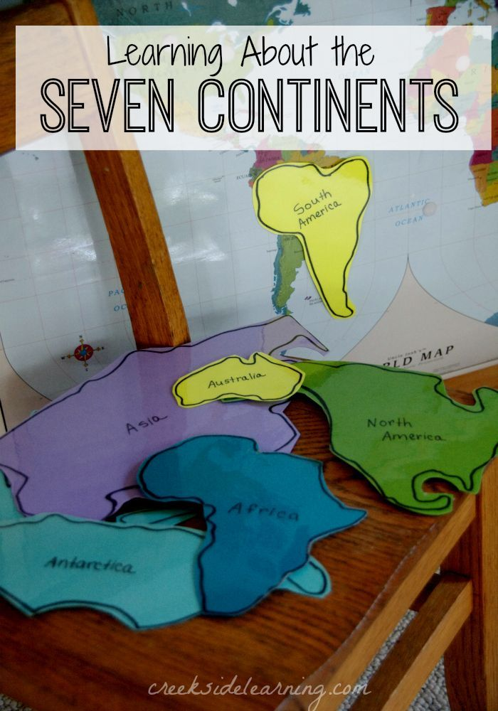 Learning about the seven continents for kids