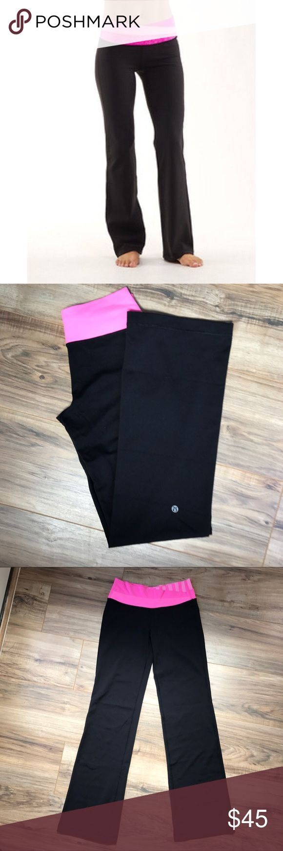 Lululemon Astro Pants Size 4 💗 Sorry I know the stock picture isn't exactly the same color/pattern waist band but it was the closest I could find. These pants do not fit me so I have no knowledge of the fit. There is a little pilling in the crotch area and back upper butt area and a little on the waist band as seen in the last pick. Other than that I don't see any obvious flaws. No fading, the black is dark and the pink is vivid. Beautiful pants. Please review pics closely. lululemon…