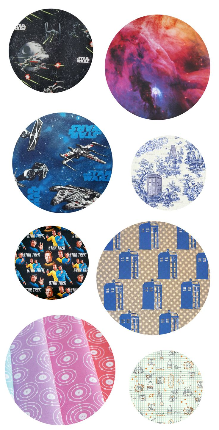 Star Wars, Doctor Who, Star Trek, space, and science fabrics for your geeky weekend DIY