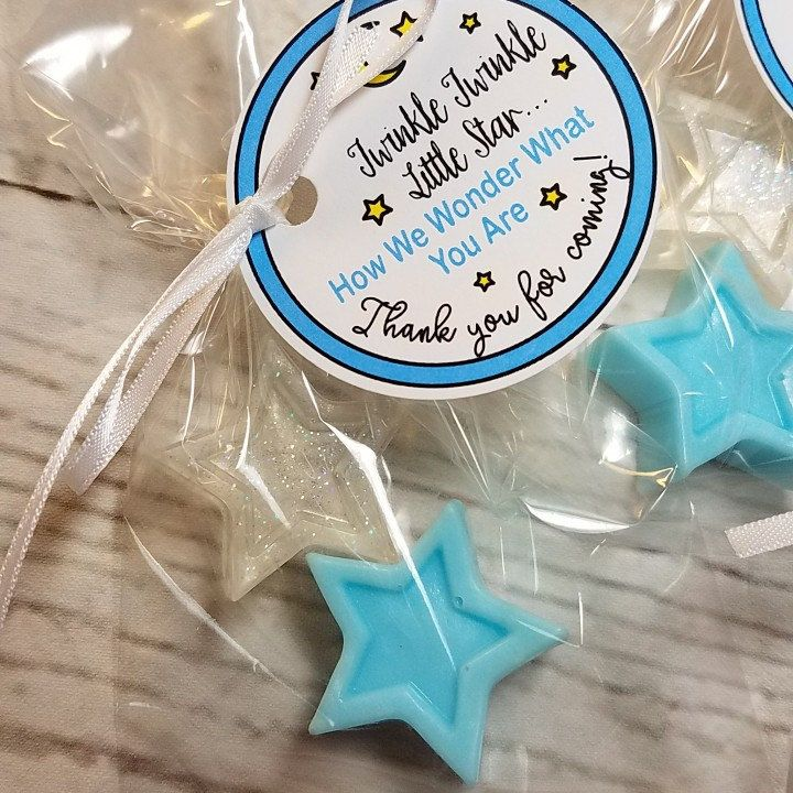 Personalized Twinkle Little Star party favors are great for baby showers. Custom made in your choice of color and scent. Fast shipping.