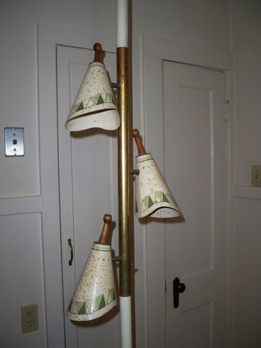 vintage mid century danish modern pole tension floor lamp retro 3 light shades - Pole Lamps