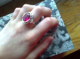 Silver ring with ruby by Oak-Deer