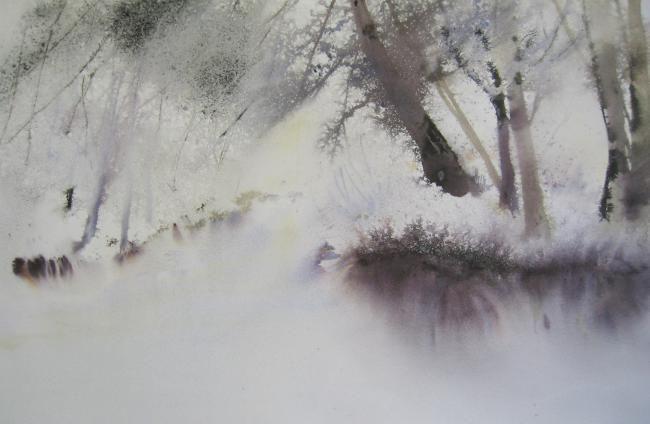 Brouillards et givres à Brive (Painting),  50x75 cm by Reine-Marie PiNCHON aquarelle