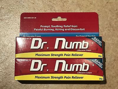 Tattoo Supplies: 2X Dr Numb 5% Lidocaine Cream 30 Gr Skin Numbing Tatoo/Removal Waxing Piercing BUY IT NOW ONLY: $55.0