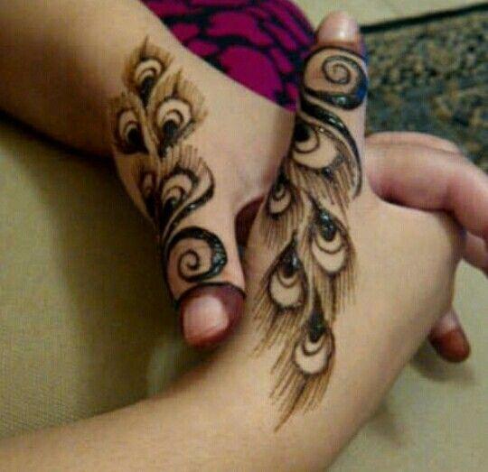 Peacock feathers henna design