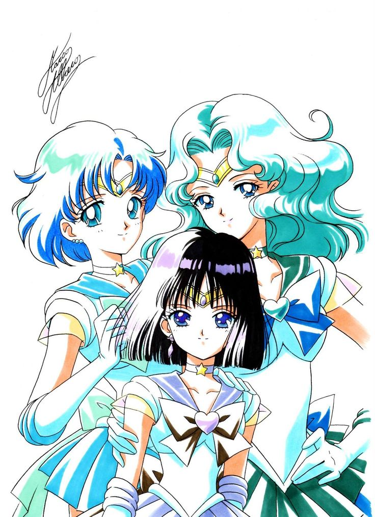 Sailor Mercury, Sailor Neptune, and Sailor Saturn | art by Marco Albiero, from the Sailor Moon Thailand Fanclub Facebook Page