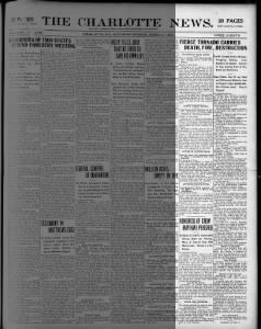 Lizzie Fore's daughter thought she was born in Meridian, Mississippi. Lizzie's brother, Edwin, said the family migrated to Sumter County, Florida, in 1906. Could this be a hint we need to flesh out the bones of the story?  The Charlotte News (Charlotte, North Carolina). 3 March 1906. Page 1