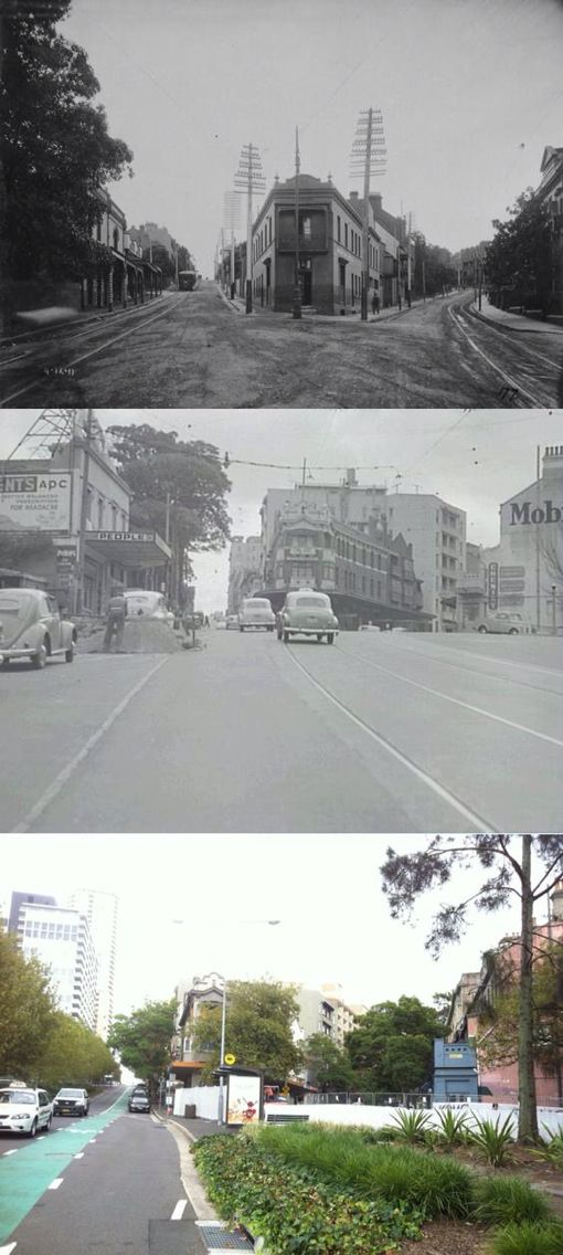 The ever changing street corner of Baywater & Kings Cross Road where roadworks have exposed the old tram tracks.  You can see how the Kings Cross tunnel completely changed the vibe of this area.  [City of Sydney Archives 1911 & 1958 & Richard Williamson 2014/by Richard Williamson]