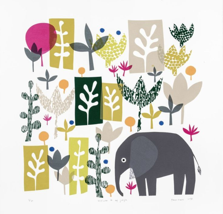 ARTFINDER: Welcome to my jungle by Jane Ormes - A colourful,fresh limited edition screen print,inspired by a visit to the Matisse exhibition at the Tate.Features leaf shapes and foliage and small grey elep... On #Somerset #paper