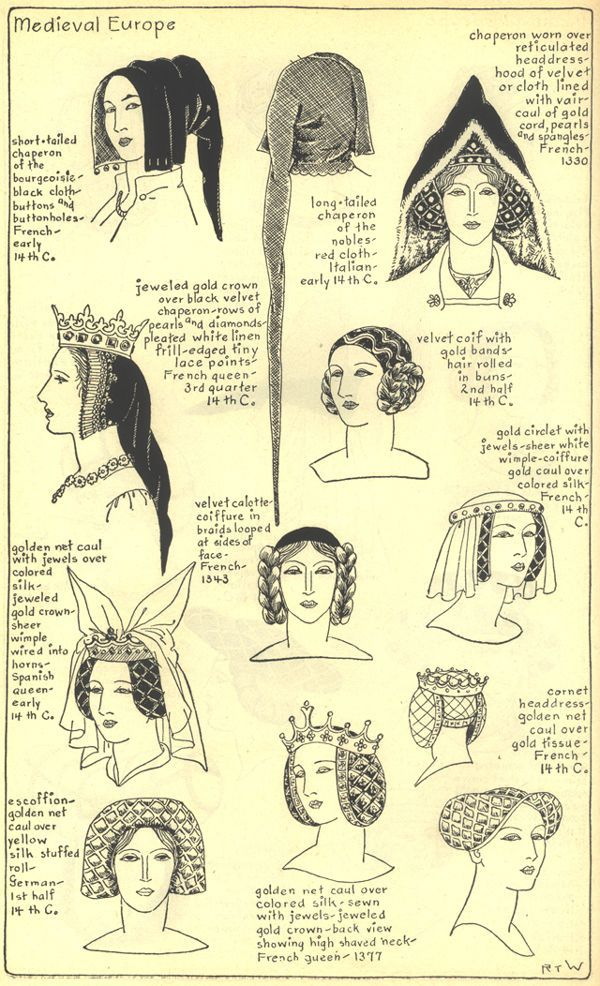 *Women Hairstyles* during the Medieval period. Varieties of hairstyles around the 14th century. Mainly between a chaperon (form of hood), a coiffure (an elaborate style), or a golden net caul (around hair). http://gallery.villagehatshop.com/gallery/chapter7/58_G_001?full=1: