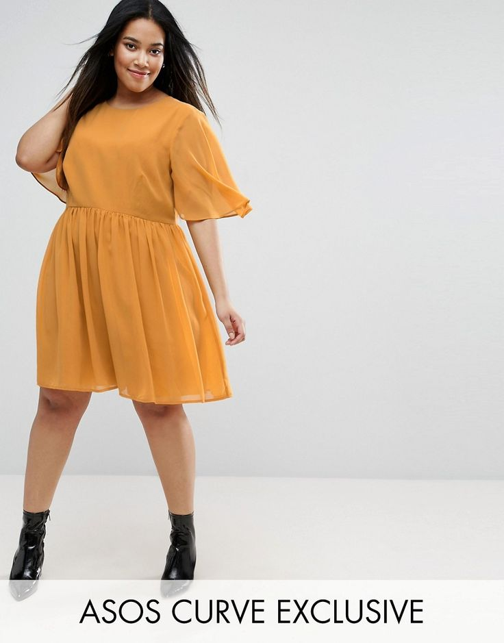 Get this Asos Curve's mini dress now! Click for more details. Worldwide shipping. ASOS CURVE Soft Cape Sleeve Mini Dress - Yellow: Plus-size dress by ASOS CURVE, Lined woven fabric, Soft-touch finish, Crew neckline, Wide sleeves, Relaxed fit, Machine wash, 100% Polyester, Our model wears a UK 18/EU 46/US 14 and is 170cm/5'7� tall, Midi dress length between: 115-125cm. Say goodbye to awkward-fitting plus-size fashion with our ASOS CURVE collection. Giving shout-outs to denim, occasionwear…