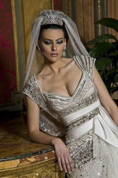 High Quality Abed Mahfouz   Stunning White / Silver Wedding Gown For Elia Martell