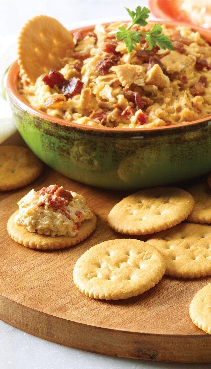 Cheesy Bacon and Pesto Ritz Bites Recipe. #SaveOnFoods #Recipe #Bacon #Pesto Appy #Appetizer