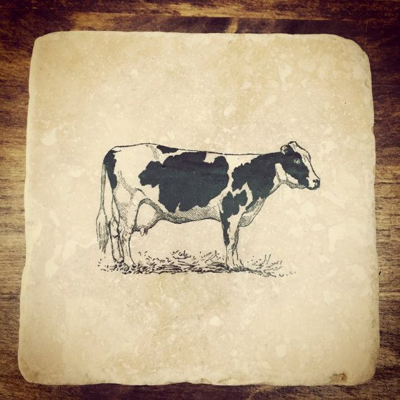 Striking individual COW natural stone tile by ENCOREHOMEgift