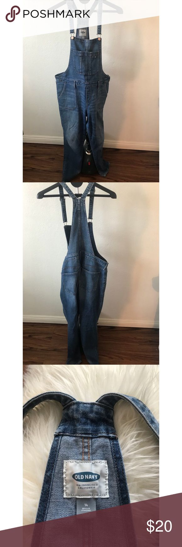 Old Navy Overalls Old Navy Women's bib denim overalls. Super cute for any time of the year! Some wear at the ends by ankle. Size 14. 🌵Smoke Free Home 🌵Pet Free Home 🌵Ships 1-2 Business Days 🌵Offers Encouraged Old Navy Jeans Overalls
