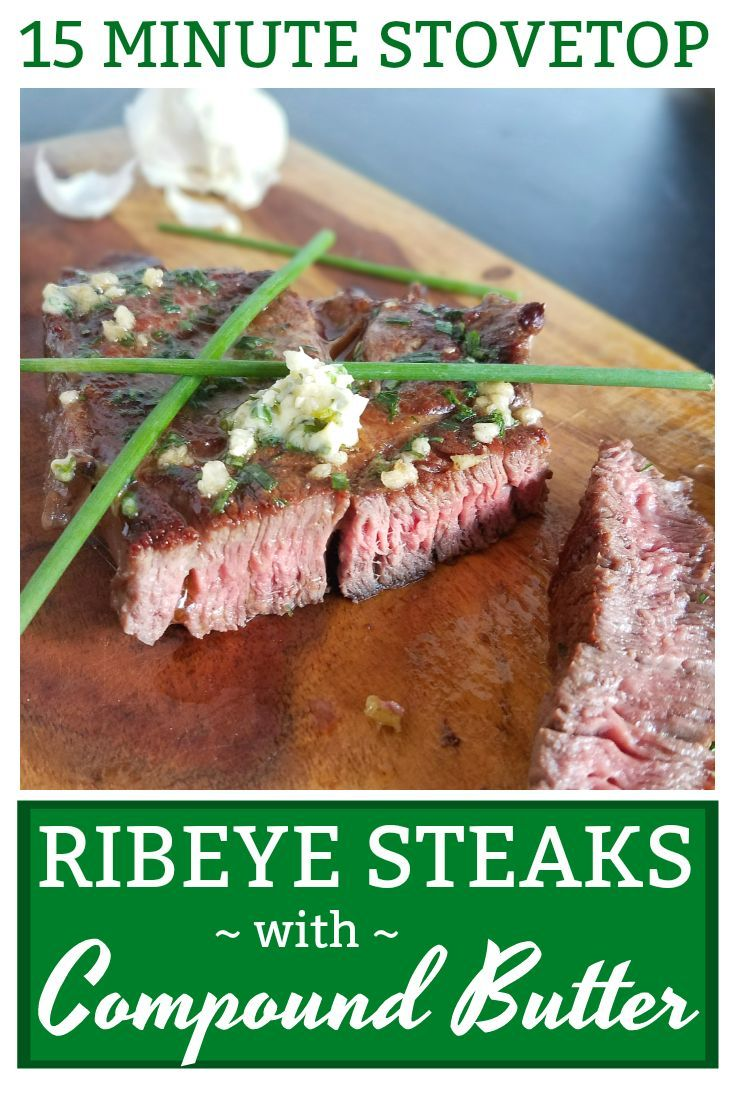 This Ribeye Steak with Compound Butter makes a juicy, flavorful steak about as easy as possible! No oven necessary since this steak is cooked solely on your stovetop. Discussion of grass-fed vs. grain-fed beef included. Pair with my mashed cauliflower for a delicious, gluten-free, grain-free, low-carb, keto and Primal meal that can be prepared in under 20 minutes!