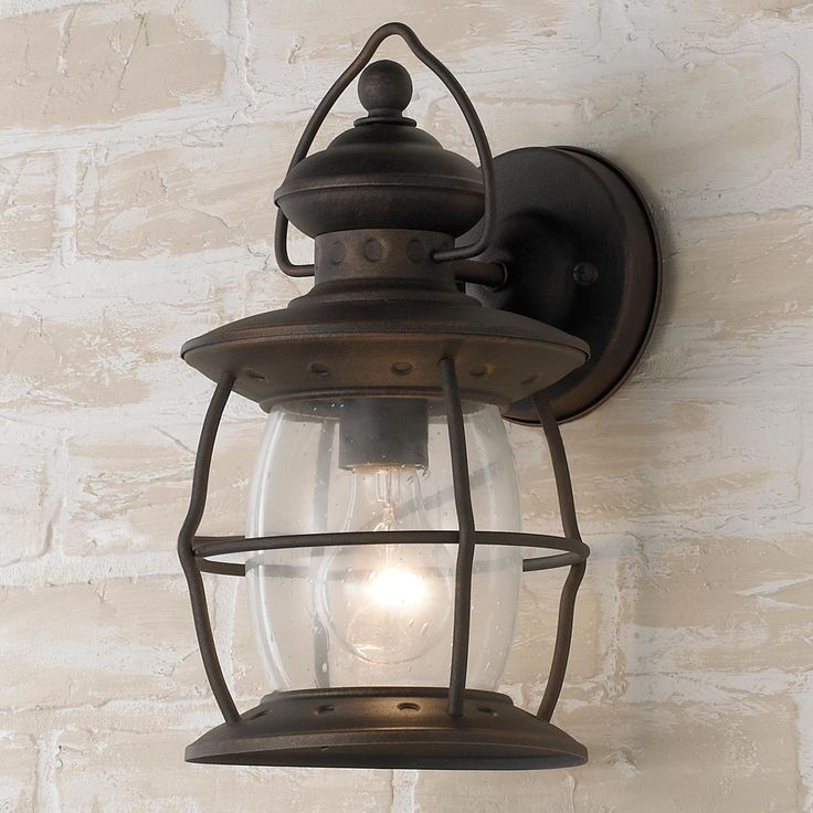 Village Caged Glass Outdoor Wall Sconce - Small