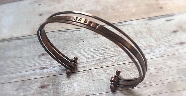 Stacking Cuff - Personalized Wire Copper Cuff - Copper Cuff Bracelet - Adjustable Wire Cuff