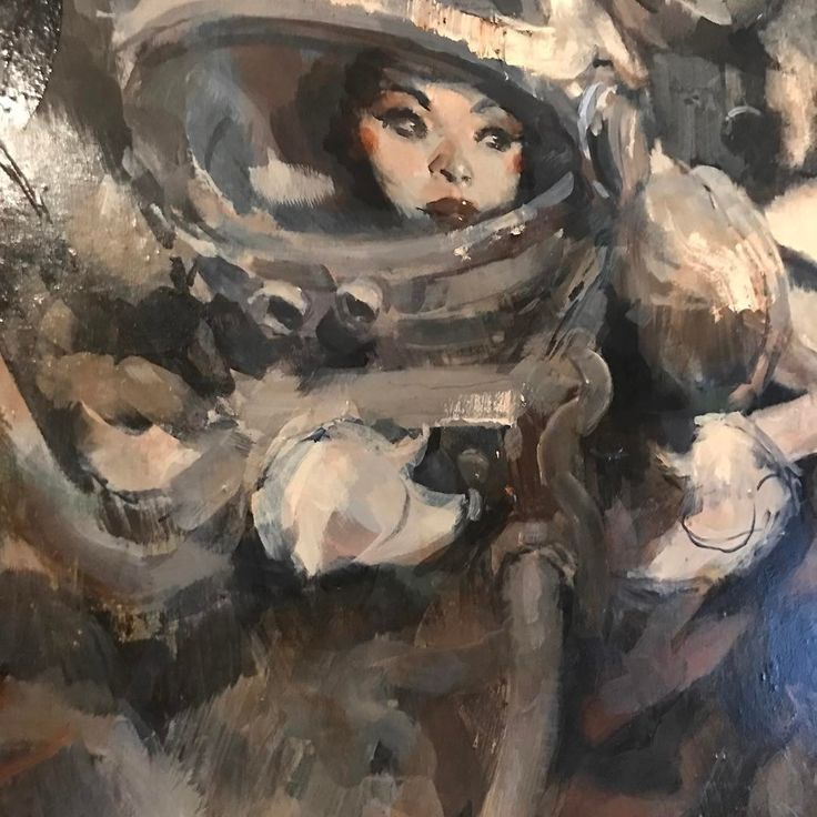 "5,680 Likes, 27 Comments - Ashley Wood (@ashleywoodart) on Instagram: ""In progress Lasstranaut painting detail  #ashleywoodart #ashleywood #lasstranaut"""