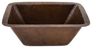 """Rectangle Copper Prep Sink with 3.5"""" Drain Size - rustic - kitchen sinks - by Lucido Luxe"""
