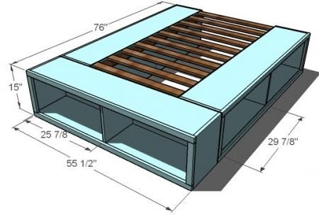 Full Storage (Captains) Bed  Here are the plans for the platform bed. Just need to add to the dimensions of the bed for a king size.