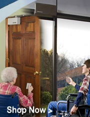A US made handicap door opener and ADA compliant automatic door opener at unbeatable prices. All automatic door openers available with electric door locks, wireless wall switches, coded keypads, remotes and battery backup.