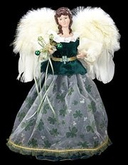 Luck of the Irish Elegant Green and Ivory Angel Christmas Tree Topper