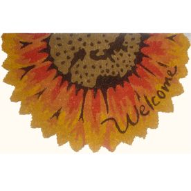 Style Selections Yellow/Brown Semicircle Door Mat (Common: 18 In X