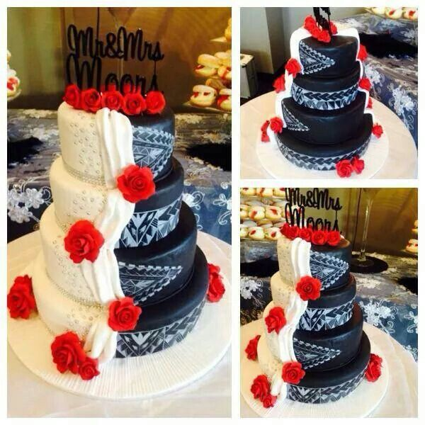 My guy could easily design his half of the cake. Samoan wedding cake.