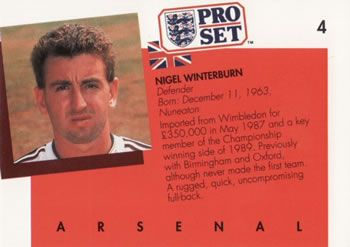 1990-91 Pro Set English League #4 Nigel Winterburn Back