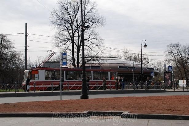 "Petersburg tram near ""UFO"" metro station Gorkovskaya"