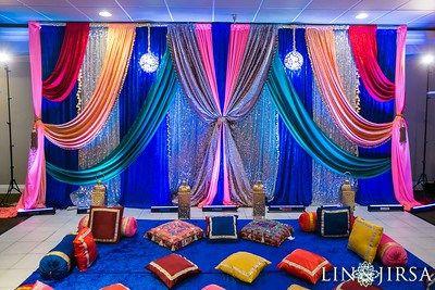 Colorful sangeet decor