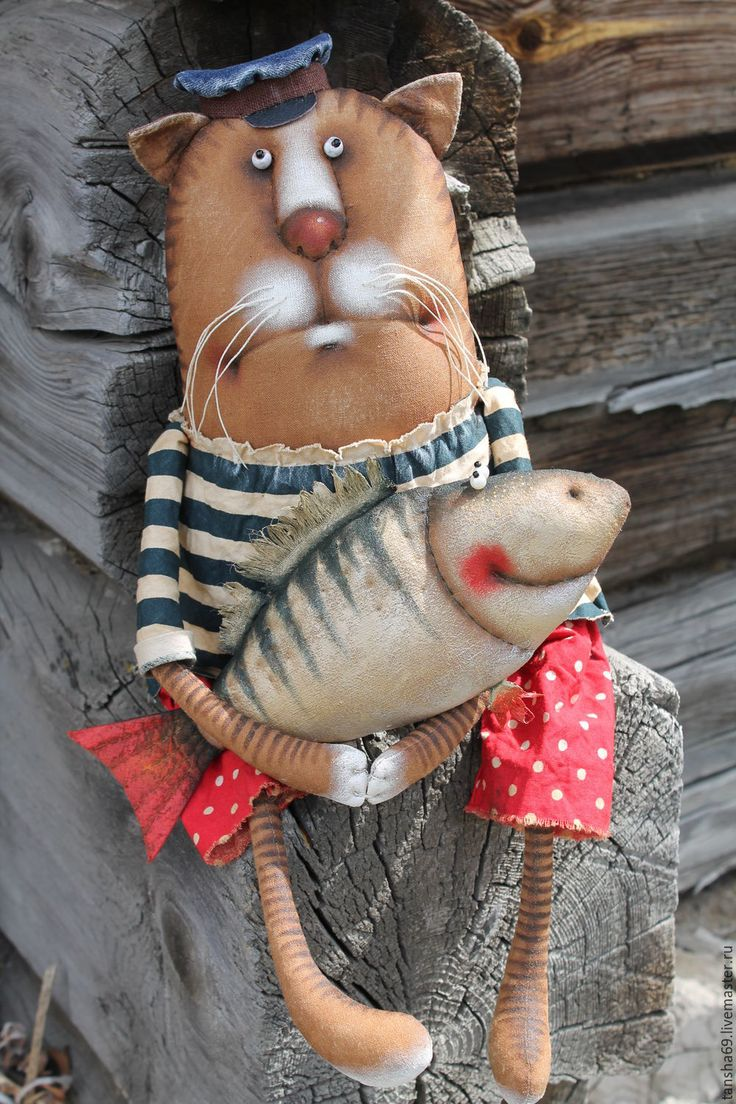 Купить Василий рыболов - комбинированный, текстильная кукла, ароматизированная кукла, интерьерная кукла, котик, кот