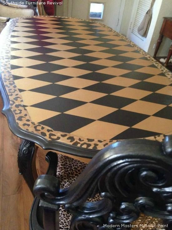 Harlequin Diamond Pattern on Dining Room Table Top | Black Pearl and Gold Rush Metallic Paint by Modern Masters | Project by Southside Furniture Revival