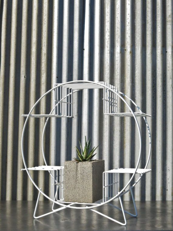 Wire Plant Stand Mid Century Modern Curio Display Shelf