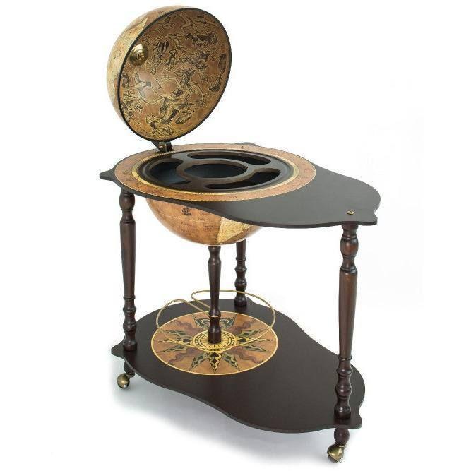 "Zoffoli ""Michelangelo"" Trolley Table With Globe Drinks Cabinet - Rust"