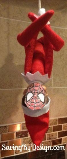 Spidey Elf! Find this and many other ideas in 30 Days of Elfing Around! #ElfOnTheShelf #ElfIdeas #ElfPoses