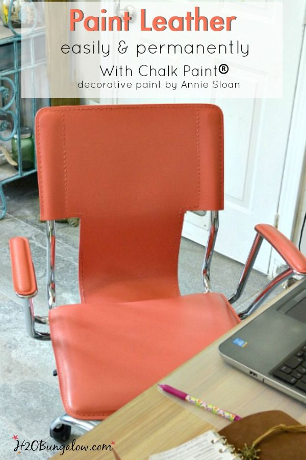 Paint any leather surface easily and permanently.   This chair was red, now it's a beautiful tropical coral.  It and it looks amazing, just like when I brought it home from the store. See my easy tutorial and color recipe to blend your own shade of coral. H2OBungalow.com