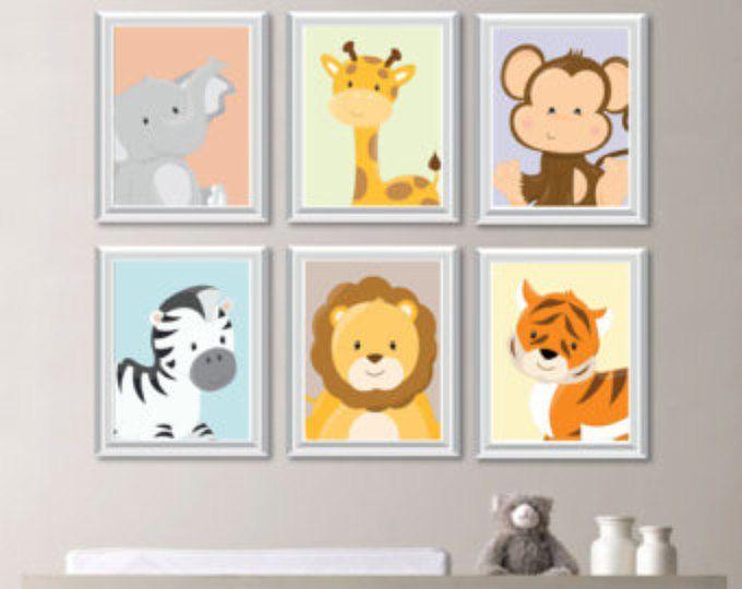 Baby Kinderzimmer drucken Kunst - Tierkindergarten Dekor - Dschungel Kinderzimmer - Dschungel Kinderzimmer Kunst - Safari Kindergarten - Safari Kindergarten Kunst - Schlafzimmer (NS-732)